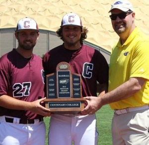 Jake McFarland (left) and Taylor Henry (center) accepting the SCAC regular season conference championship, April 26, 2015, Shreveport, Louisiana.
